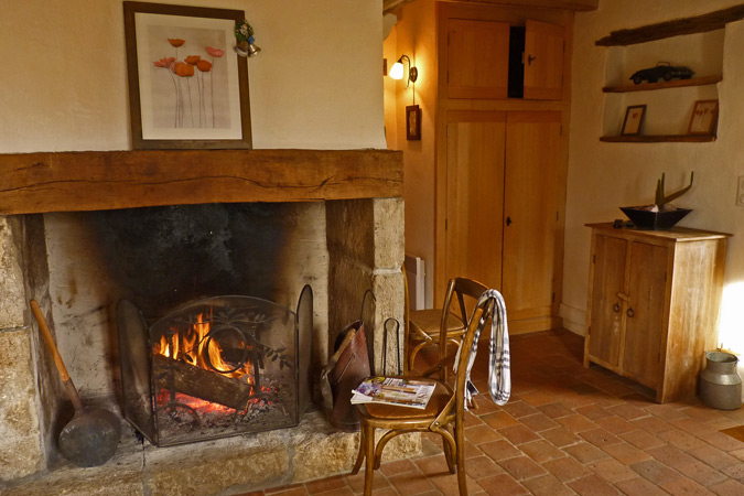 Fireplace in a typical Périgord gite