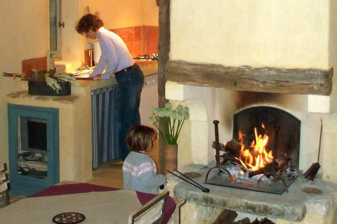 Blazing fire in a holiday rental, Sarlat in the Dordogne