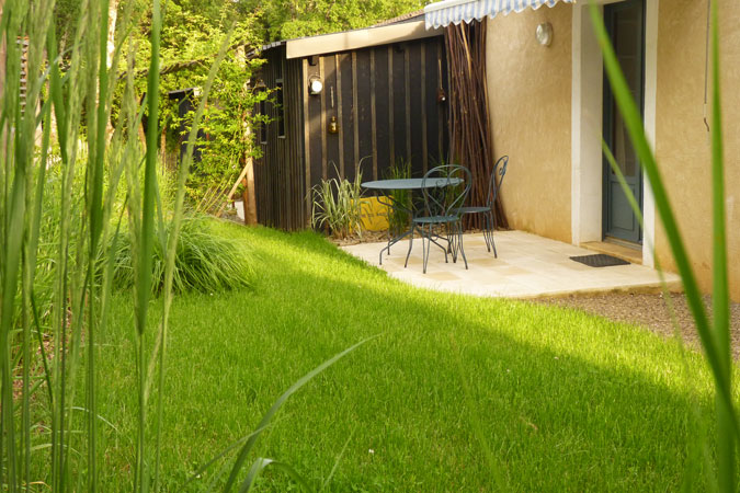 Lawn at the Thistle studio apartment, Sarlat in the Dordogne