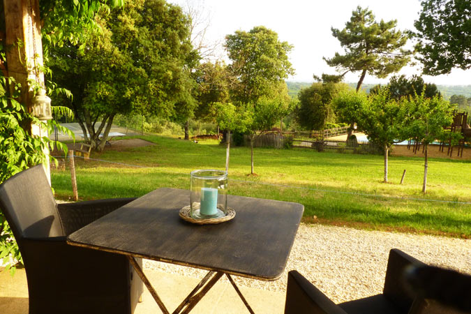 View from the Abelia studio apartment, Hameau du Sentier des Sources, Sarlat