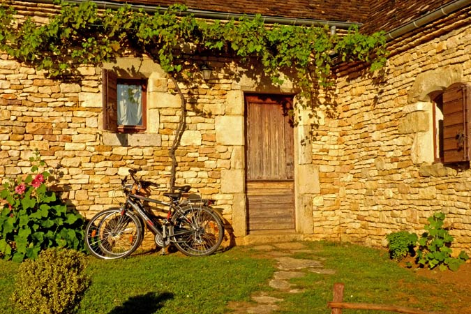 Bicycles in front of a charming gite for rent, Sarlat
